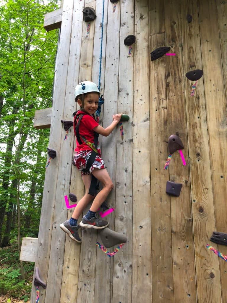 climbing wall at Camp Hurontario